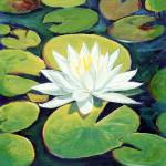 """Water Lily Flower painting by RD  Riccoboni™"" by BeaconArtWorksCorporation"