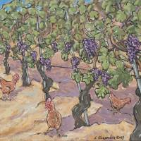 Vineyard Chickens Art Prints & Posters by Leslie Alexander