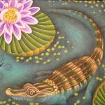 """Baby Alligator and Lotus"" by JacquelynBraxton"