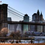 """Brooklyn Bridge / Downtown Manhattan"" by JoelHorwath"