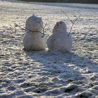 Snowmen in Sunrise, Bath (1D3_1958)