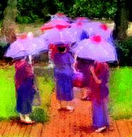 red hat in umbrellas_Painting