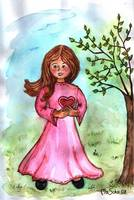 Girl in pink dress in spring - MagdalenaArt