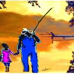 """man and daughter fishin"" by ArtbySachse"