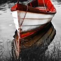 """Black and White Red Boat"" by Black_White_Photos"