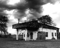 Historic Gas Station under Storm