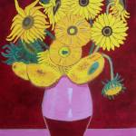 """Sunflowers in maroon -tribute to Van Gogh"" by Eamonreillydotcom"