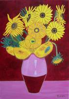 Sunflowers in maroon -tribute to Van Gogh