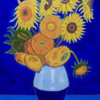 Sunflowers in blue - Tribute to Van Gogh Art Prints & Posters by Eamon Reilly