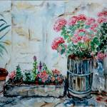 """Flower-pots on patio - MagdalenaArt"" by MagdalenaArt"