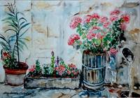 Flower-pots on patio - MagdalenaArt