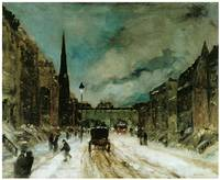 Street Scene with Snow (57th St., New York City)