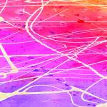 """Purple, pink, red, yellow and orange abstract wate"" by rozine"