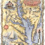 """Illustrated Chesapeake Bay Map"" by Sharon_himes"