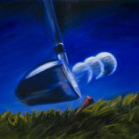 """Closeup of Driver Striking Ball Off The Tee Print"" by KeatingArt"