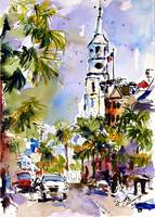 St Michaels Church Charleston Watercolor by Ginett