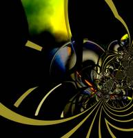 Abstract Art Gold Green Reaction