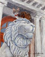 Cat Sitting on Lion Statue Painting