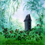 """Birdhouse Among Berries with Bible Verse: Matthew"" by Lenora"
