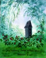 Birdhouse Among Berries with Bible Verse: Matthew