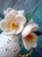 Needlefelted Magnolias (two)