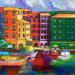"""""""THE COLOURFUL PORT OF CAMOGLI"""" by saracatenacolorfulart"""