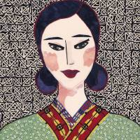Japanese Girl in Kimono Series - Chieko Art Prints & Posters by Kerri Jones