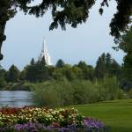 """20x30 From the Park Idaho Falls Temple"" by lightvoyages"