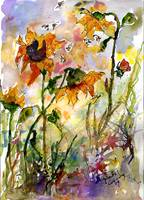 Sunflowers & Bees Provencale Watercolor by GInette