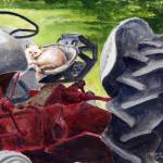 """""""kitty_on_a_tractor"""" by pedigreeartist"""