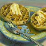 """Blueberry Eggo Waffles With Maple Syrup"" by hallgroat"