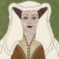 Lady Jacqueline - fabric mosaic Art Prints & Posters by Kerri Jones