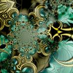 """Metal Gold Teal Glass 2"" by shanmaree"