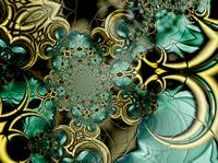 Metal Gold Teal Glass 2