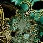 """Metal Gold Teal Glass 5"" by shanmaree"