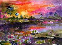 Okefenokee Sunset Watercolor & Ink by Ginette Call