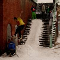 snowboarding on the steps in Brighton