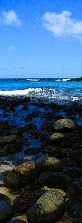 Molokai vertical rocks painted blue