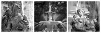 French Fountain Story (B&W)