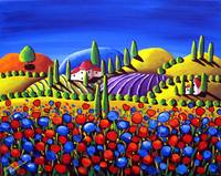 Red Poppies Tuscan Scene