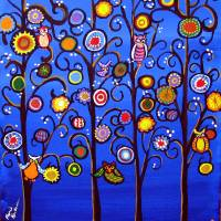 """Owls In Trees Whimsical Folk Art"" by reniebritenbucher"
