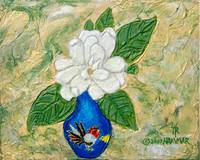 Gardenia Painting with Hidden Rooster in Flower
