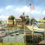 """DOCKED WHITE BOAT IN BROAD CHANNEL"" by madelinesstudio"