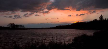 Weather over Wild Rice Lake at Sunset
