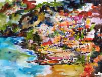 Amalfi Italy - Watercolor & Ink by Ginette Callawa