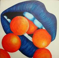 Blue Lips with Bright Orange Pearls