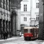 """Tram and snow in Prague"" by skelter"