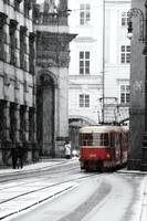Tram and snow in Prague