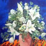"""White Flowers on Kente"" by pmuzibranch"