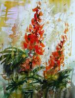 Lupines Flower Original Painting